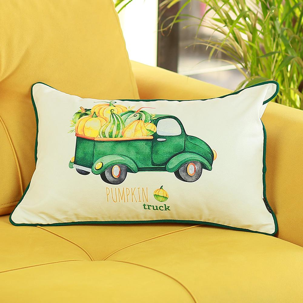 """Set of 2 20""""  Pumpkin Truck Lumbar Pillow Cover in Multicolor - 376901. Picture 2"""