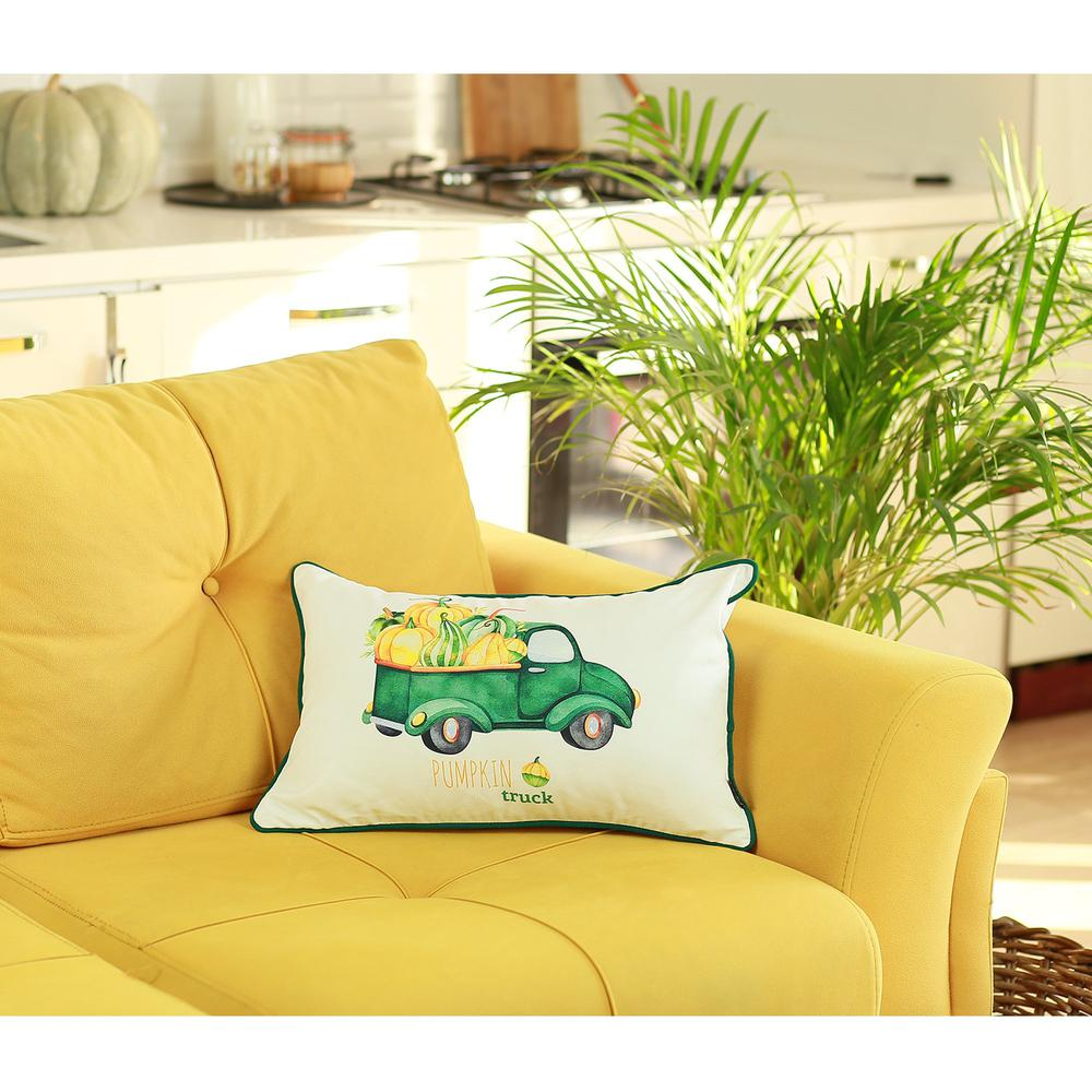 """Set of 2 20""""  Pumpkin Truck Lumbar Pillow Cover in Multicolor - 376901. Picture 3"""