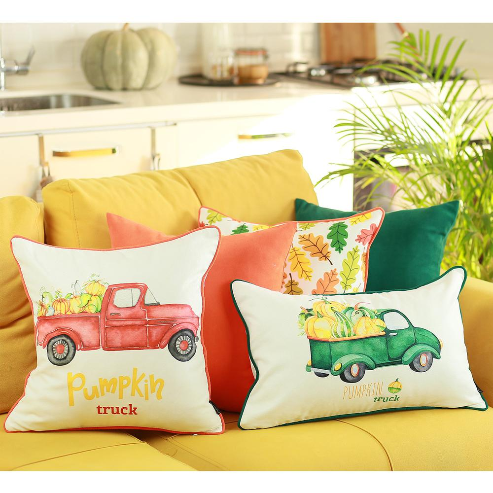"""Set of 2 20""""  Pumpkin Truck Lumbar Pillow Cover in Multicolor - 376901. Picture 4"""