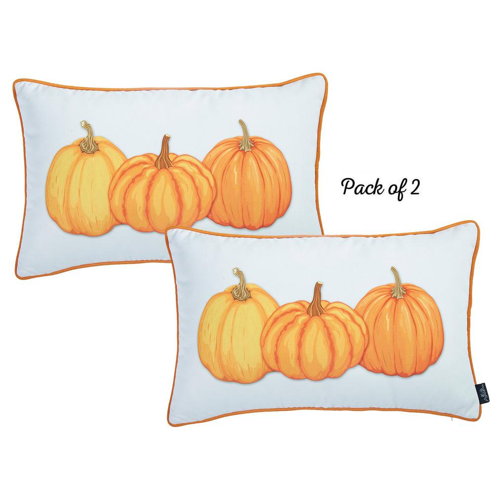 """Set of 2 20"""" Thanksgiving Pumpkin Throw Pillow Cover in Multicolor - 376902. Picture 2"""