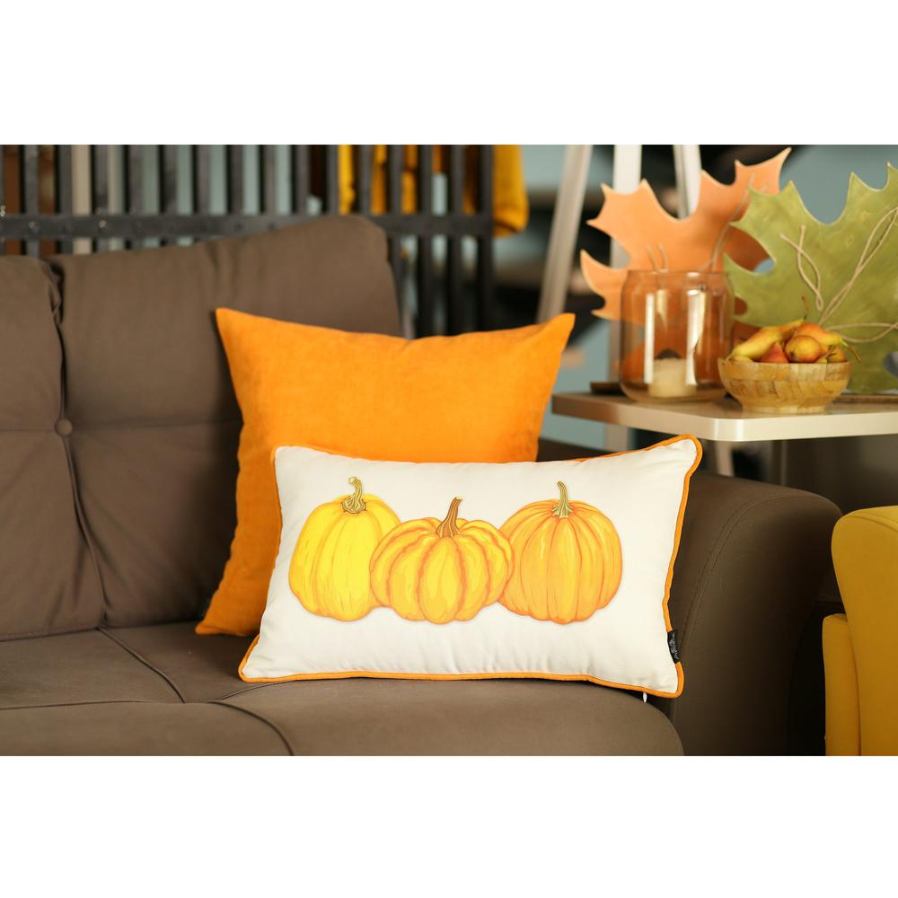 """Set of 2 20"""" Thanksgiving Pumpkin Throw Pillow Cover in Multicolor - 376902. Picture 3"""