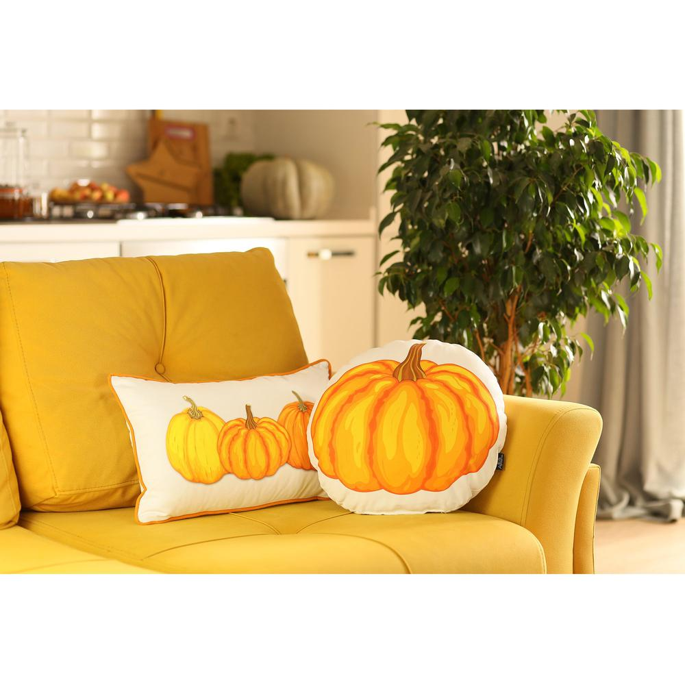 """Set of 2 20"""" Thanksgiving Pumpkin Throw Pillow Cover in Multicolor - 376902. Picture 5"""
