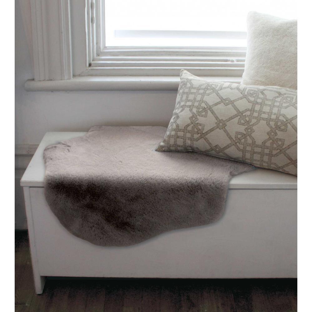 2' x 3' Gray Faux Rabbit Fur Area Rug - 376904. Picture 5