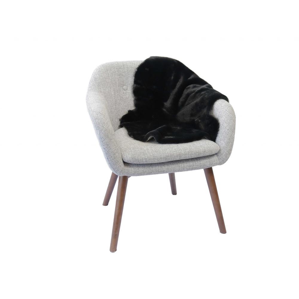 2' x 3' Black Faux Rabbit Fur Area Rug - 376905. Picture 2