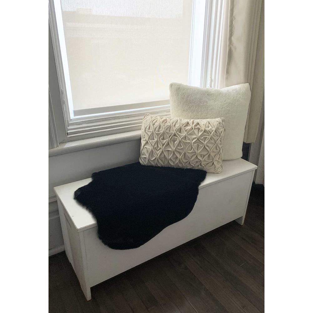 2' x 3' Black Faux Rabbit Fur Area Rug - 376905. Picture 5