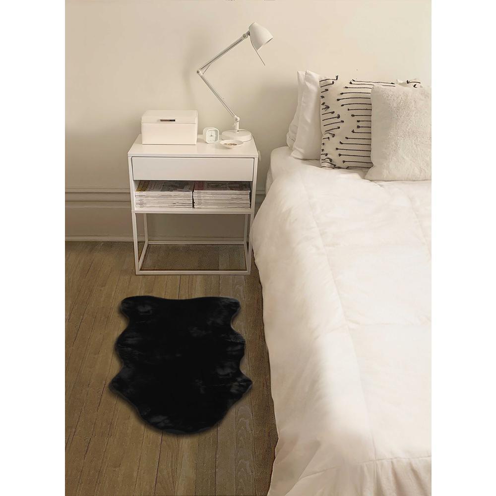 2' x 3' Black Faux Rabbit Fur Area Rug - 376905. Picture 6