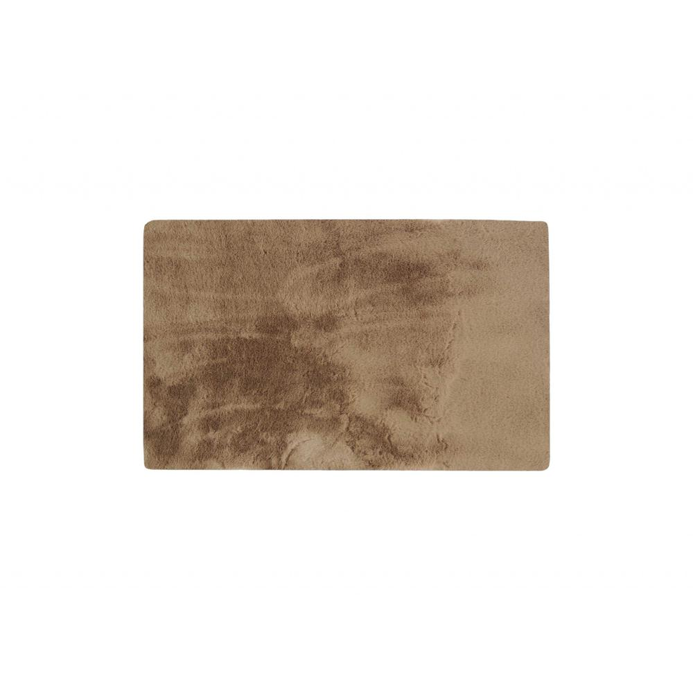 Luxe Faux Rabbit Fur Rectangular Rug 3' x 5'   - Taupe - 376911. Picture 1