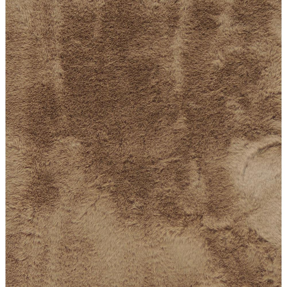 Luxe Faux Rabbit Fur Rectangular Rug 3' x 5'   - Taupe - 376911. Picture 3