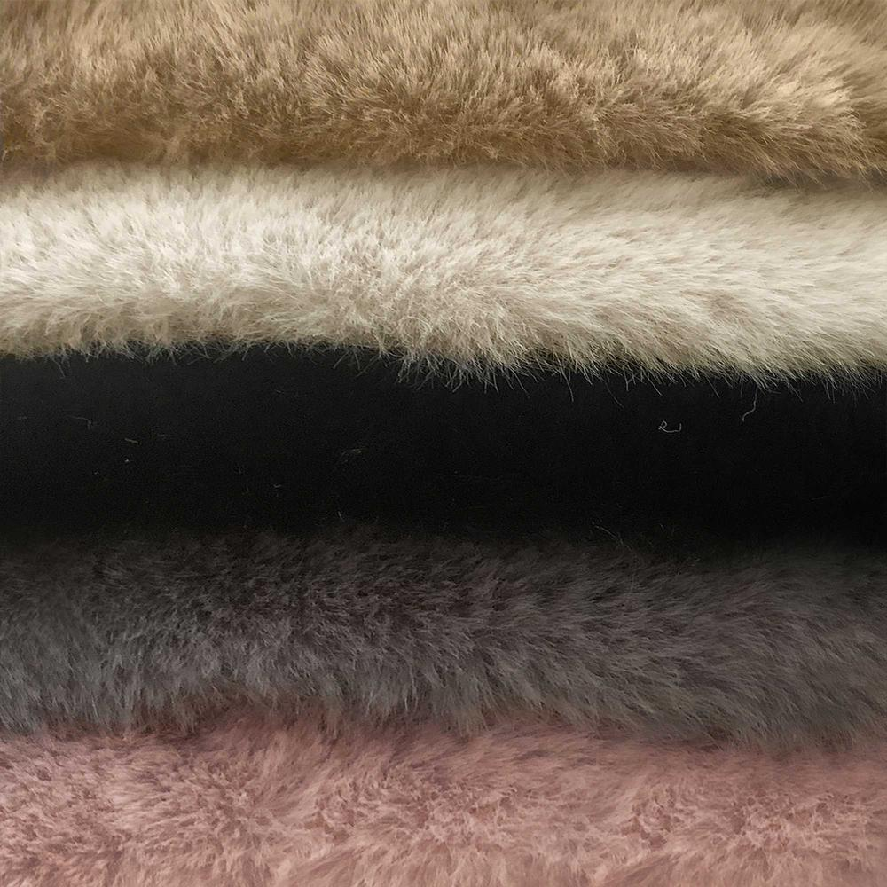 Luxe Faux Rabbit Fur Rectangular Rug 3' x 5'   - Taupe - 376911. Picture 4