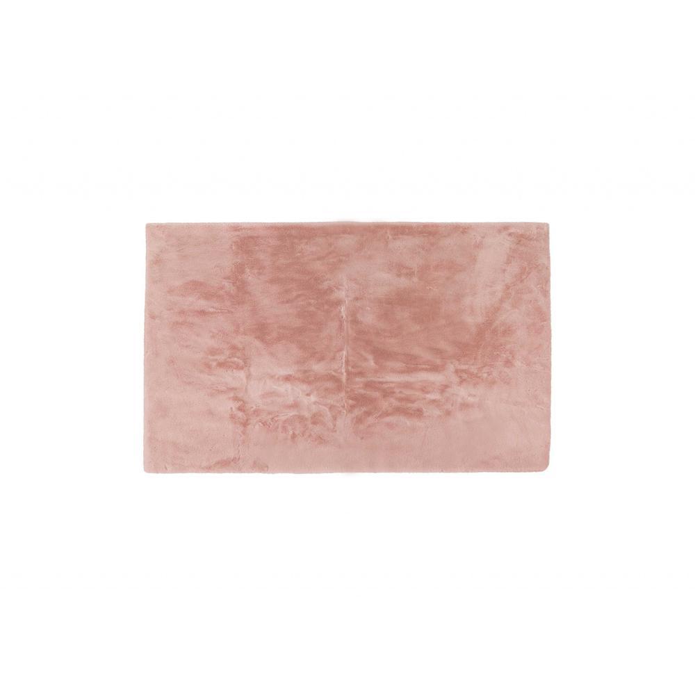 Luxe Faux Rabbit Fur Rectangular Rug 3' x 5'   - Blush Pink - 376912. Picture 1