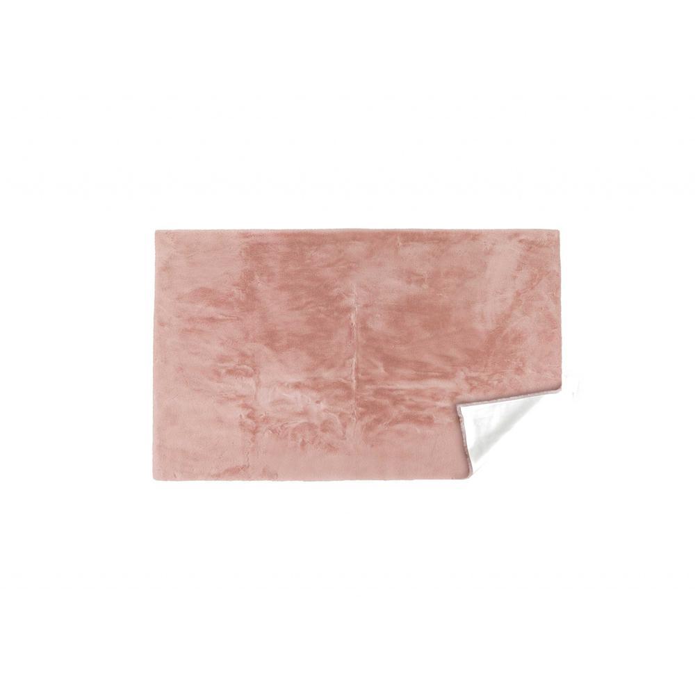 Luxe Faux Rabbit Fur Rectangular Rug 3' x 5'   - Blush Pink - 376912. Picture 2