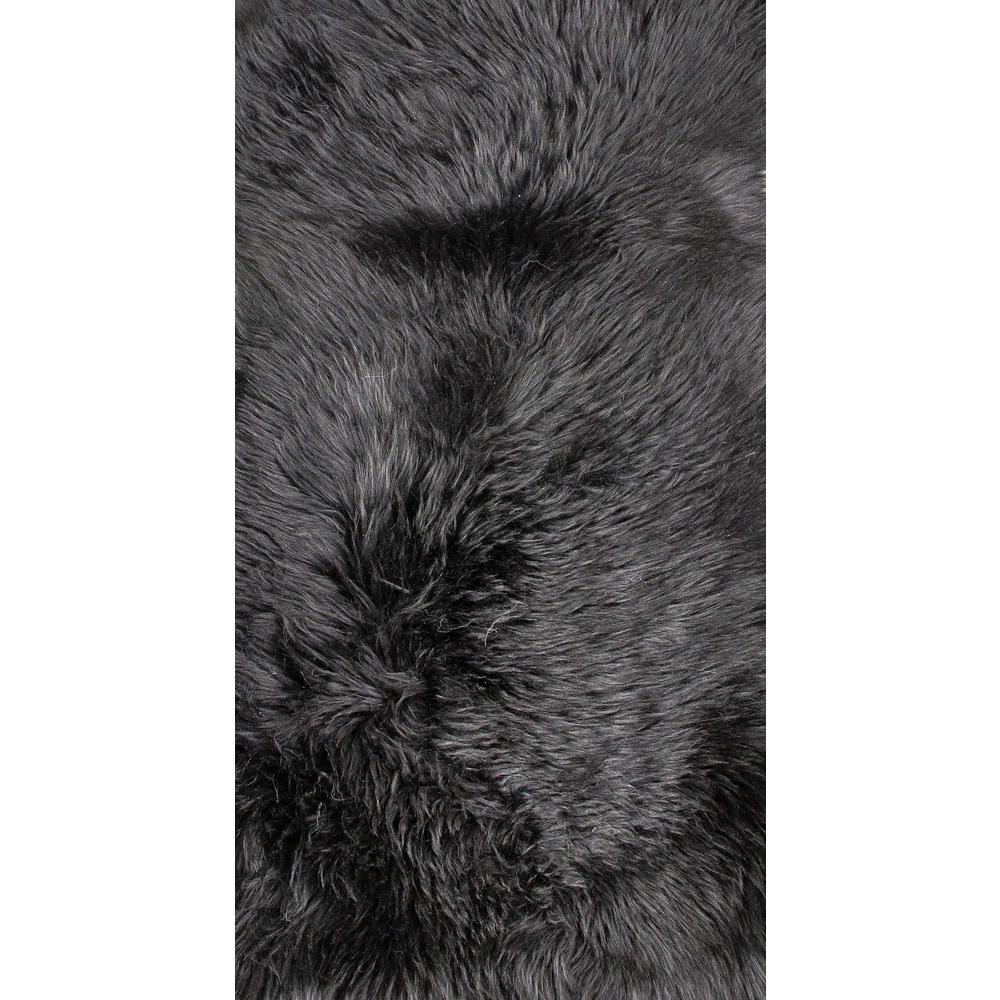 2' x 3' Black New Zealand Natural Sheepskin Rug - 376920. Picture 1