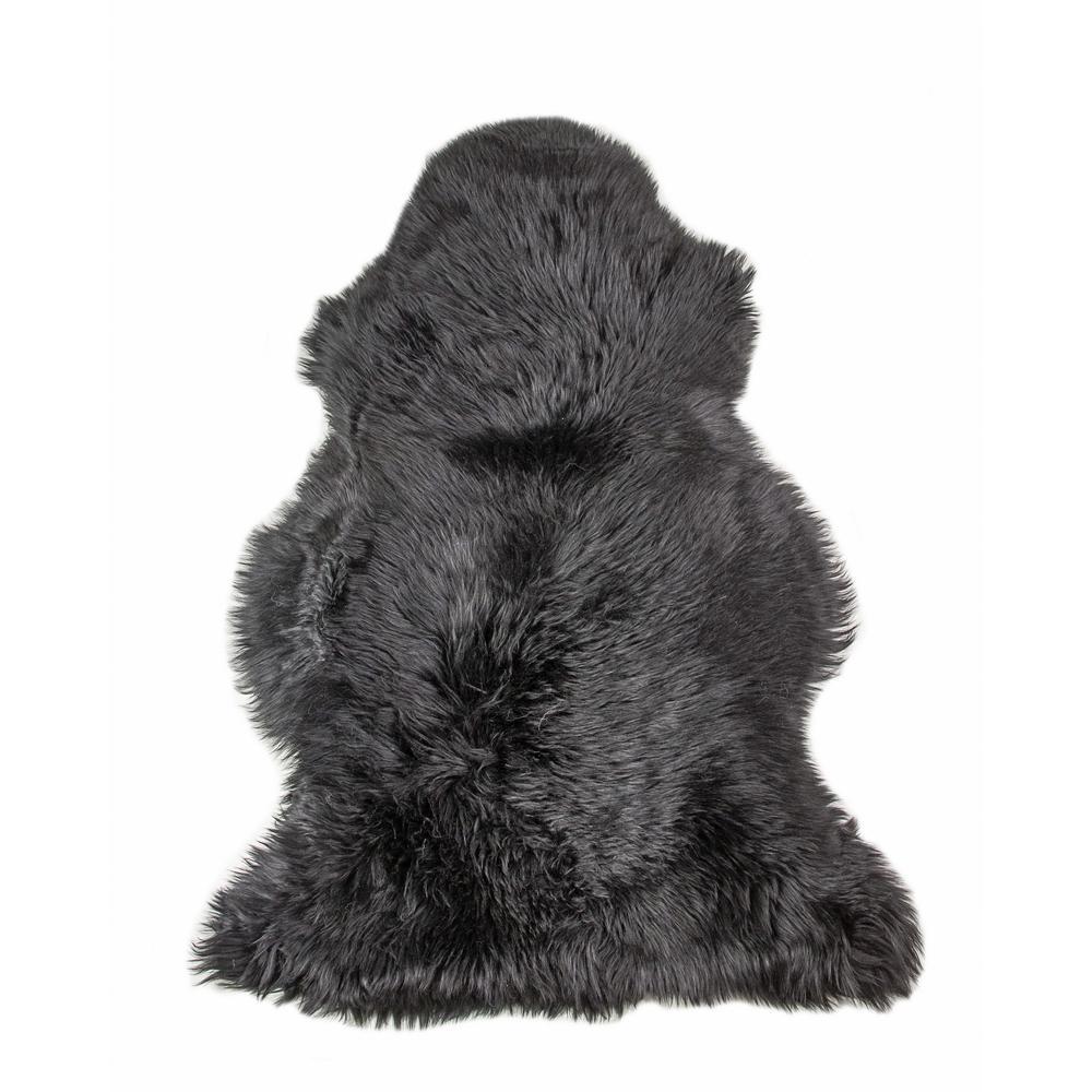 2' x 3' Black New Zealand Natural Sheepskin Rug - 376920. Picture 6