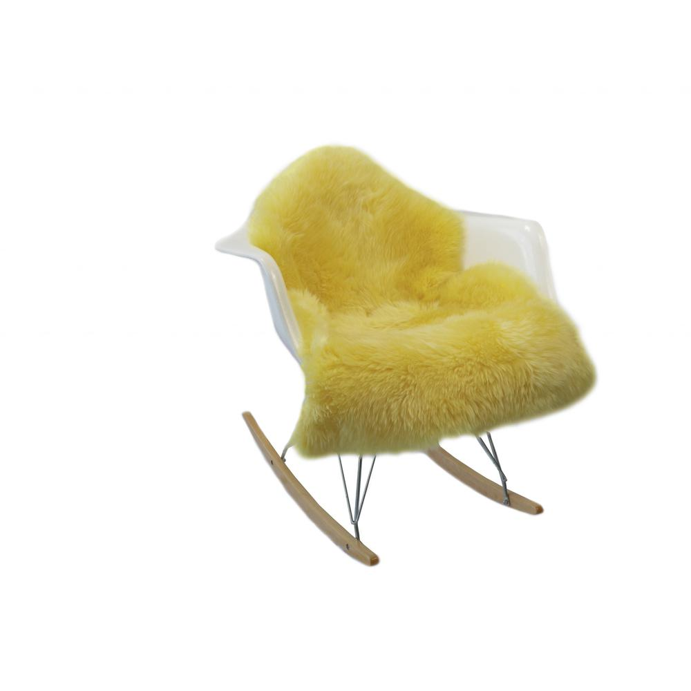 2' x 3' Yellow New Zealand Natural Sheepskin Rug - 376929. Picture 3