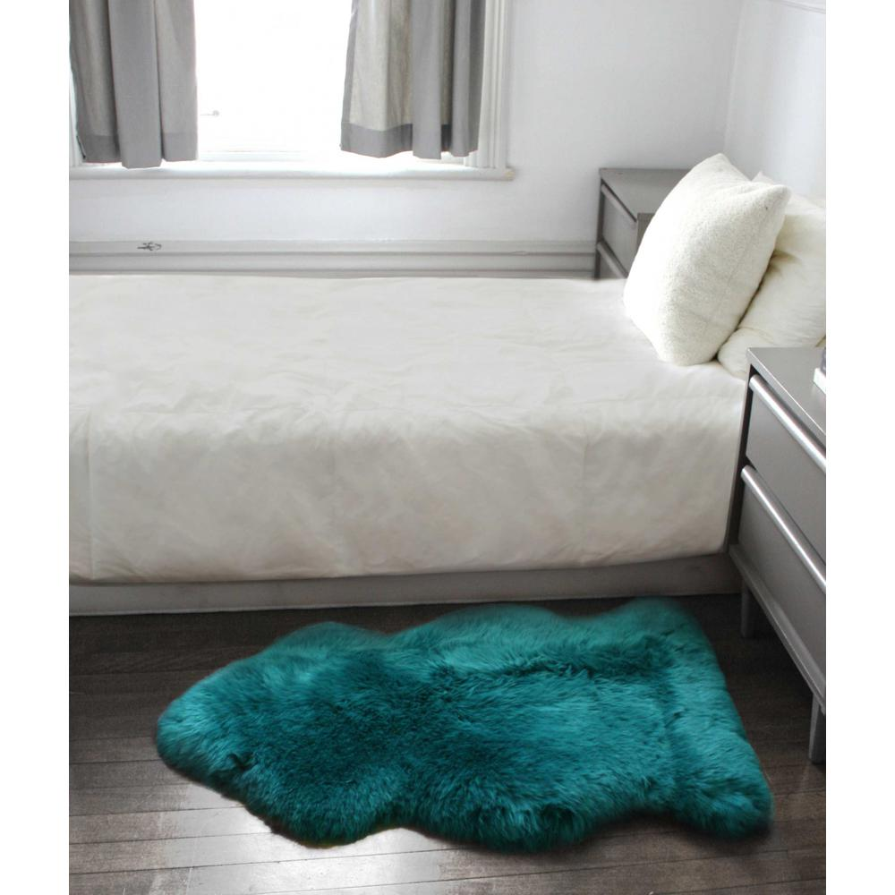 2' x 3' Steel Blue New Zealand Natural Sheepskin Rug - 376932. Picture 2