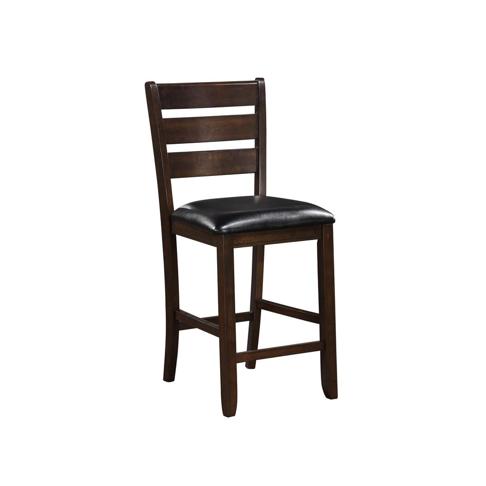 """Set of 2 41"""" Dark Wood Finish and Black Faux Leather Ladder Back Counter Height Chairs - 376979. Picture 1"""