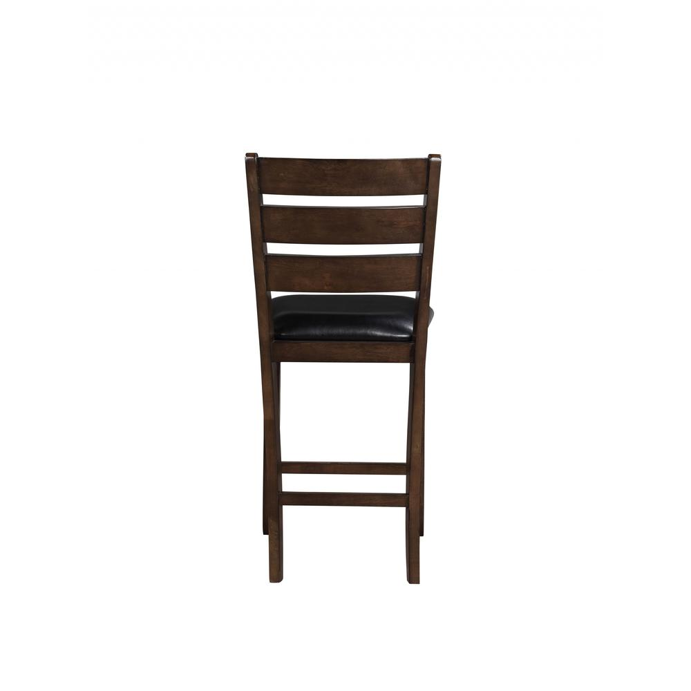 """Set of 2 41"""" Dark Wood Finish and Black Faux Leather Ladder Back Counter Height Chairs - 376979. Picture 2"""