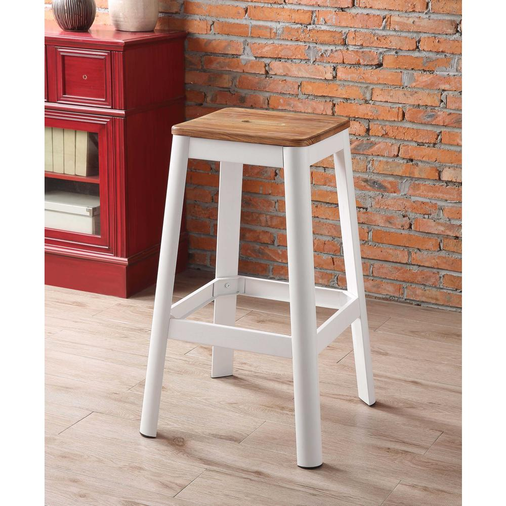 Contrast White and Natural Wood Bar Stool - 376986. Picture 2
