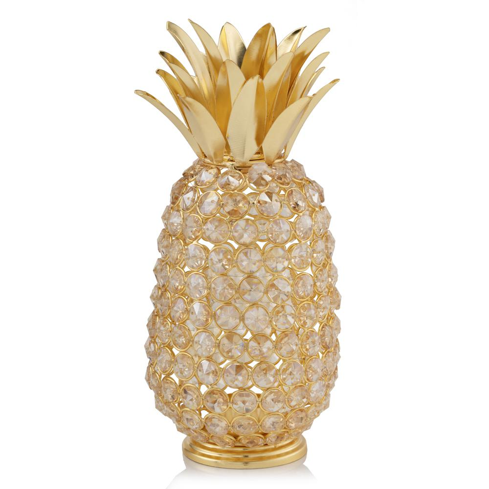 """11"""" Faux Crystal and Gold Pineapple Sculpture - 379765. Picture 1"""