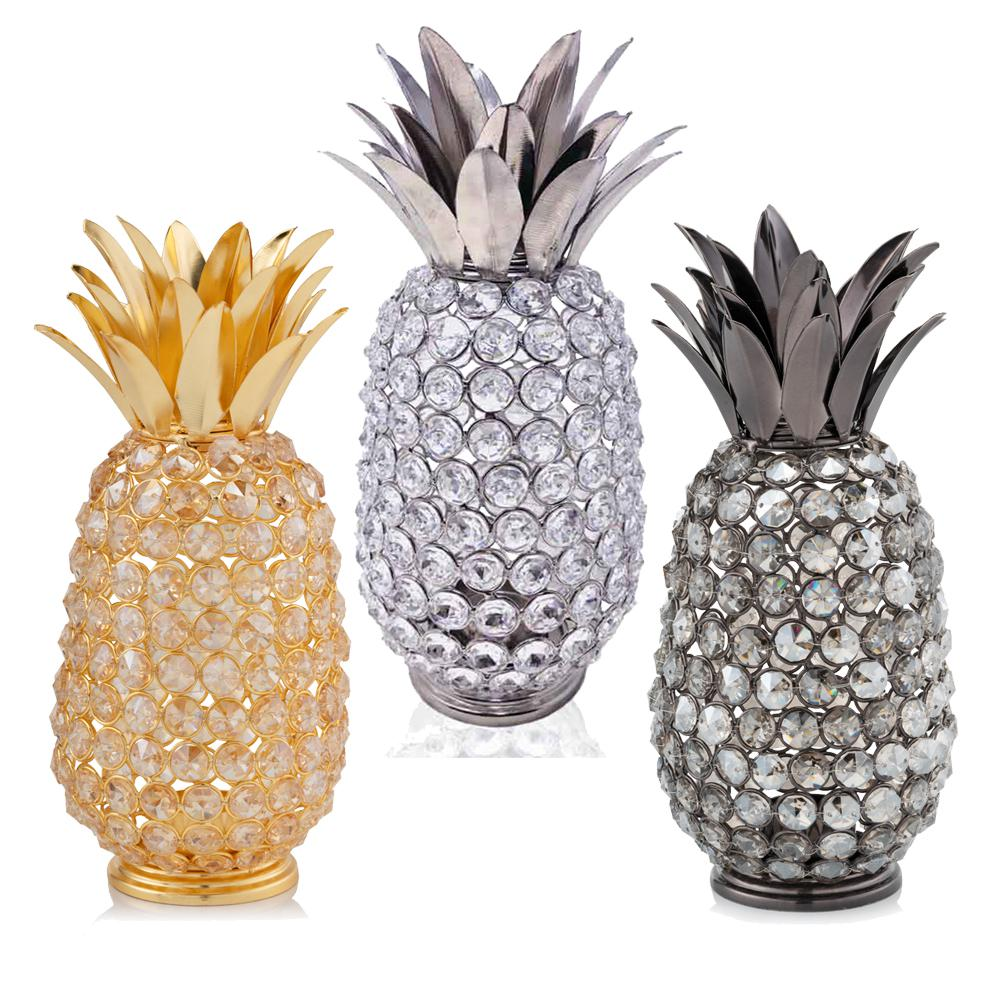 """11"""" Faux Crystal and Gold Pineapple Sculpture - 379765. Picture 2"""