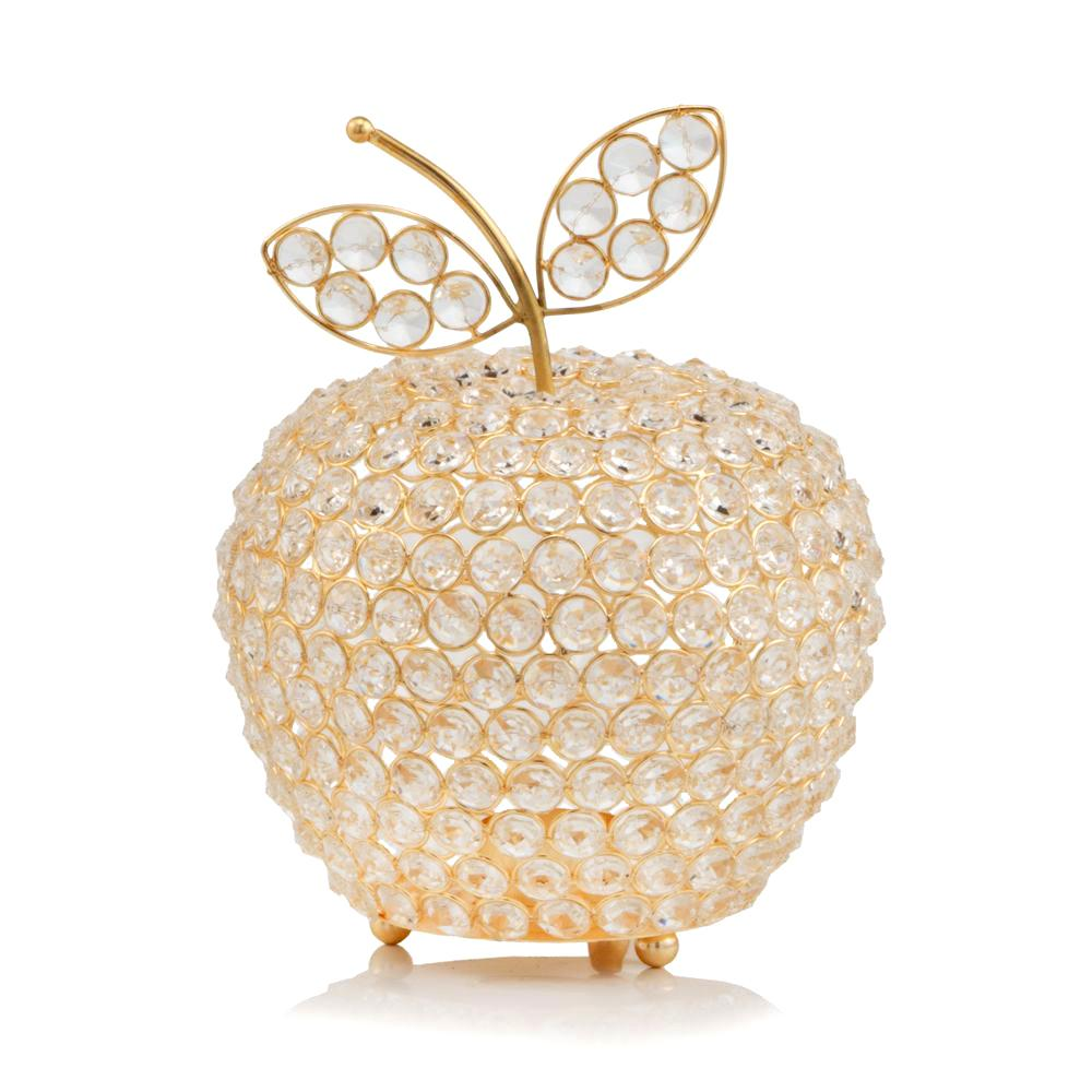 """10.75"""" Medium Faux Crystal Gold Apple Sculpture - 379769. Picture 1"""
