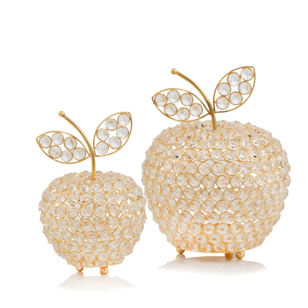 """10.75"""" Medium Faux Crystal Gold Apple Sculpture - 379769. Picture 2"""