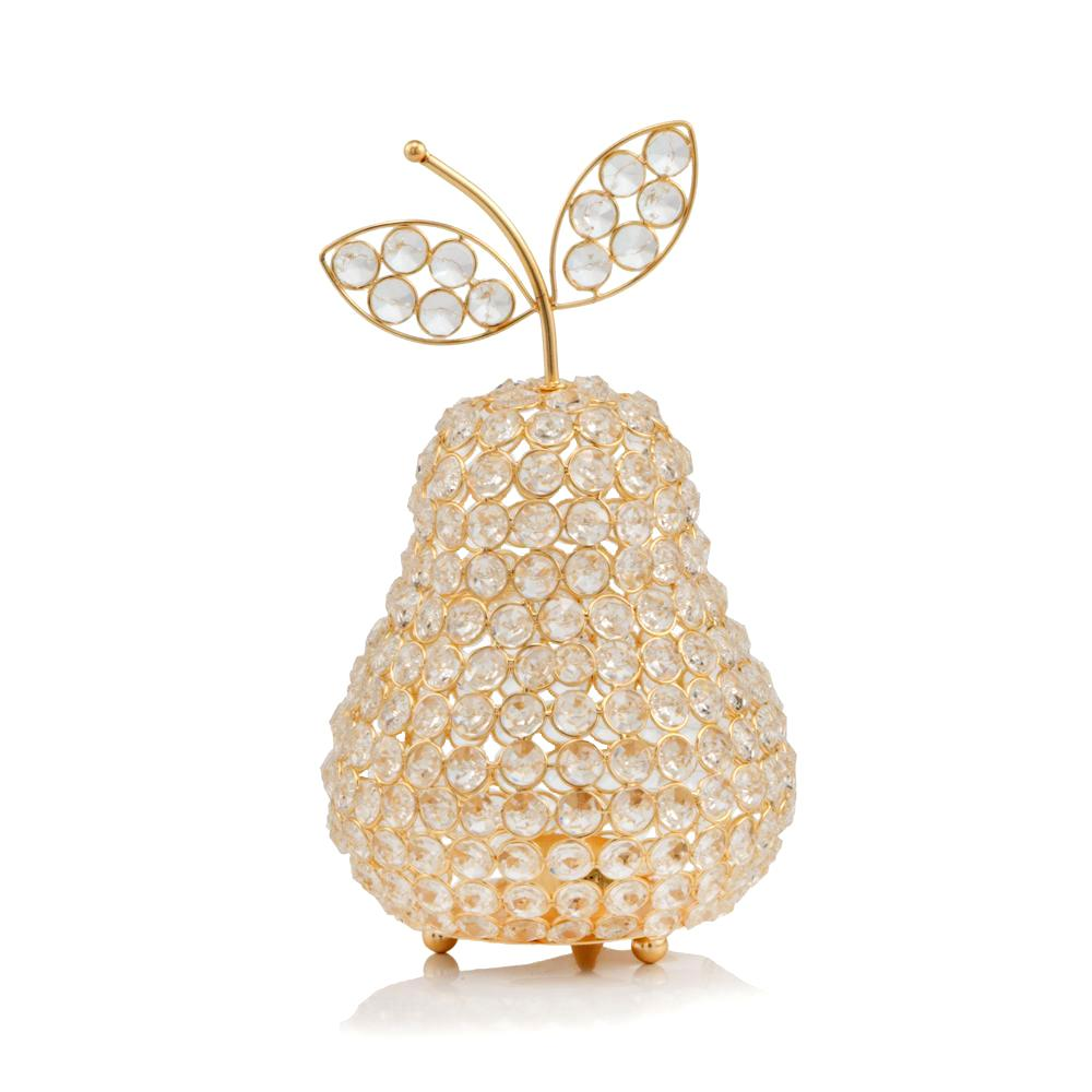 """10.75"""" Medium Faux Crystal Gold Pear Sculpture - 379770. Picture 1"""
