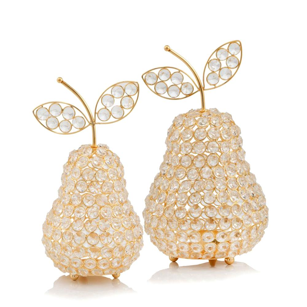 """10.75"""" Medium Faux Crystal Gold Pear Sculpture - 379770. Picture 2"""