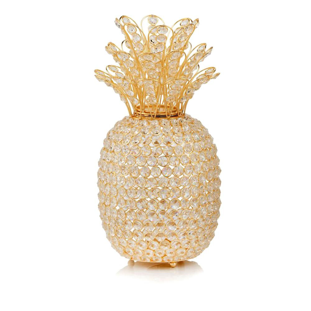 """15"""" Faux Crystal and Gold Pineapple Sculpture - 379771. Picture 1"""
