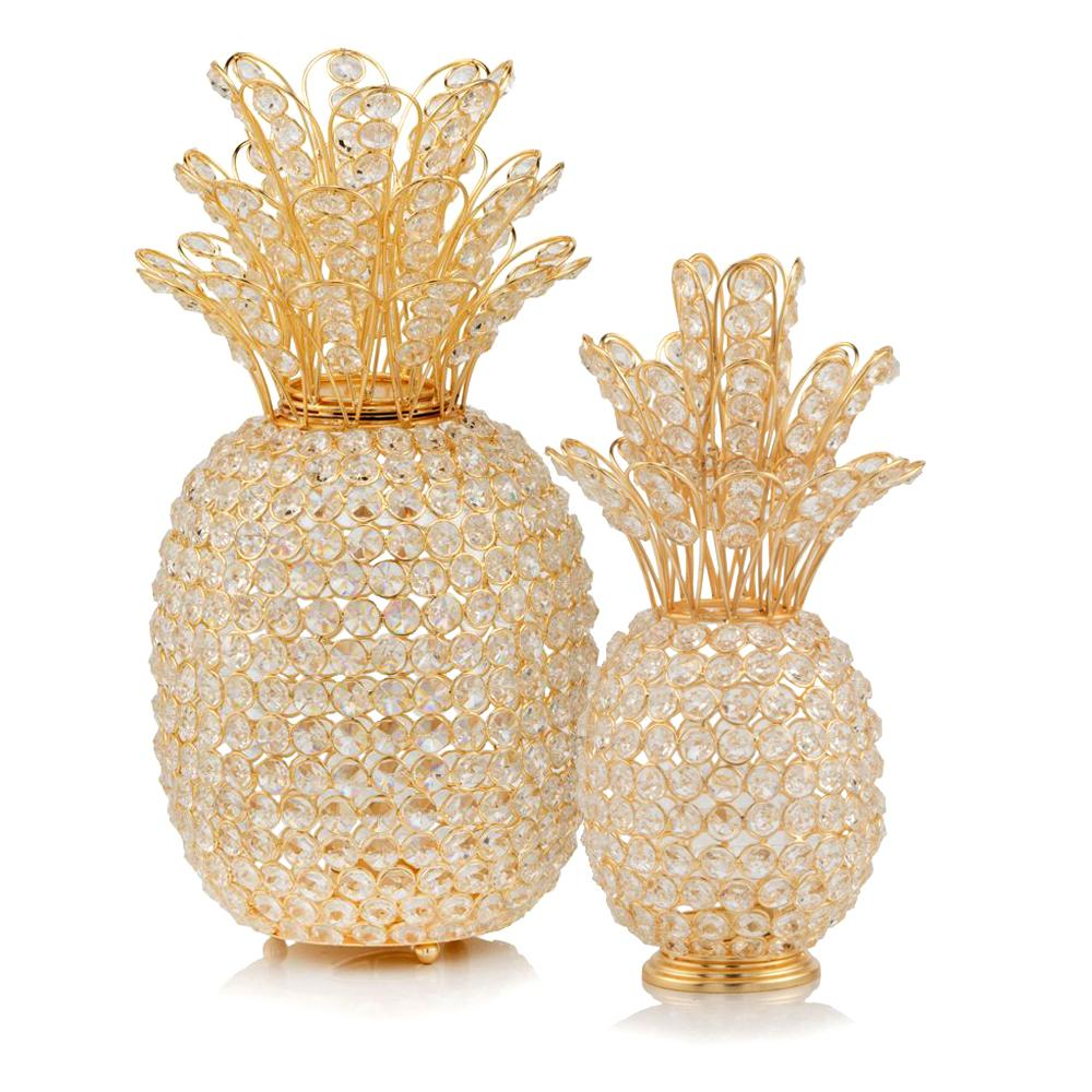 """15"""" Faux Crystal and Gold Pineapple Sculpture - 379771. Picture 2"""