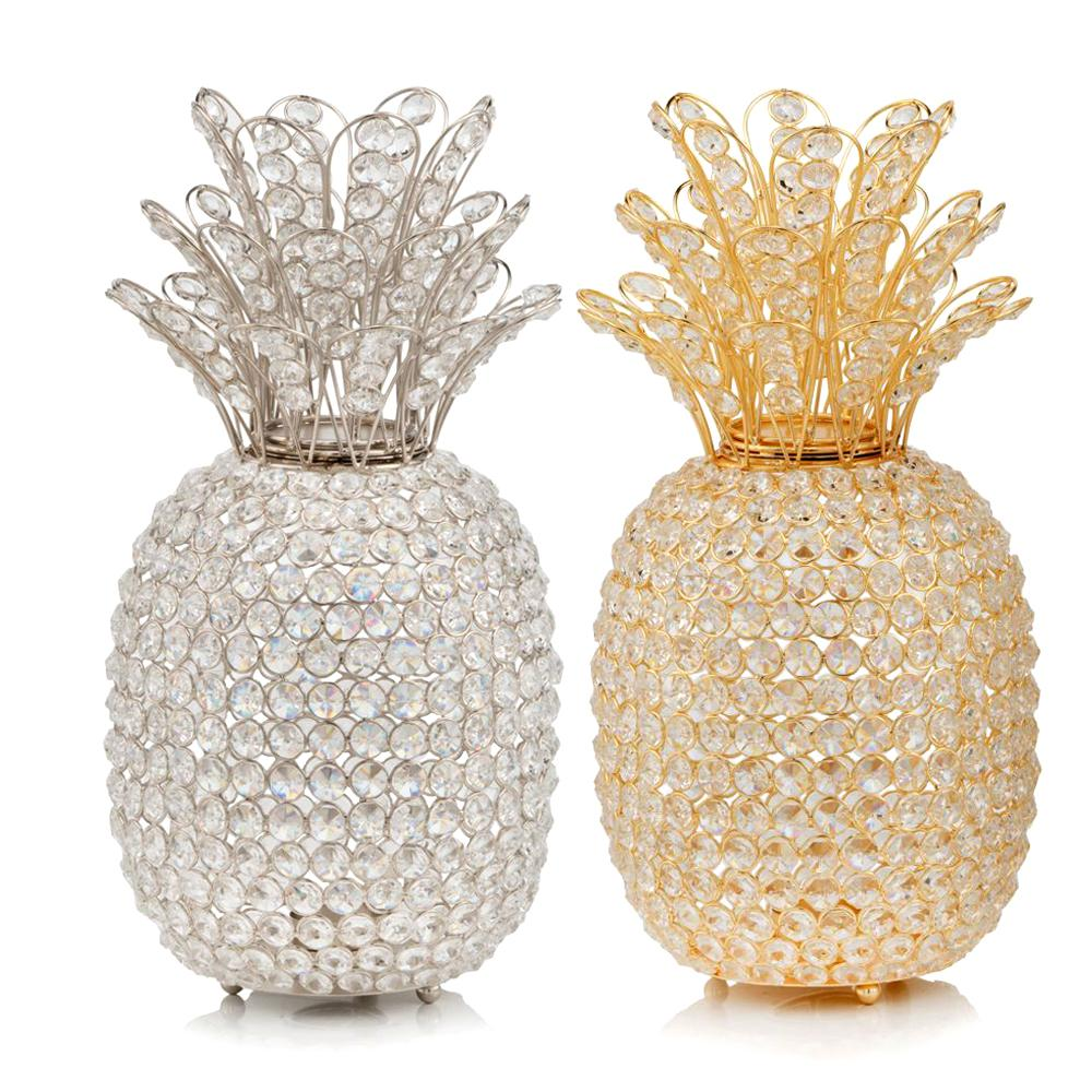 """15"""" Faux Crystal and Gold Pineapple Sculpture - 379771. Picture 3"""