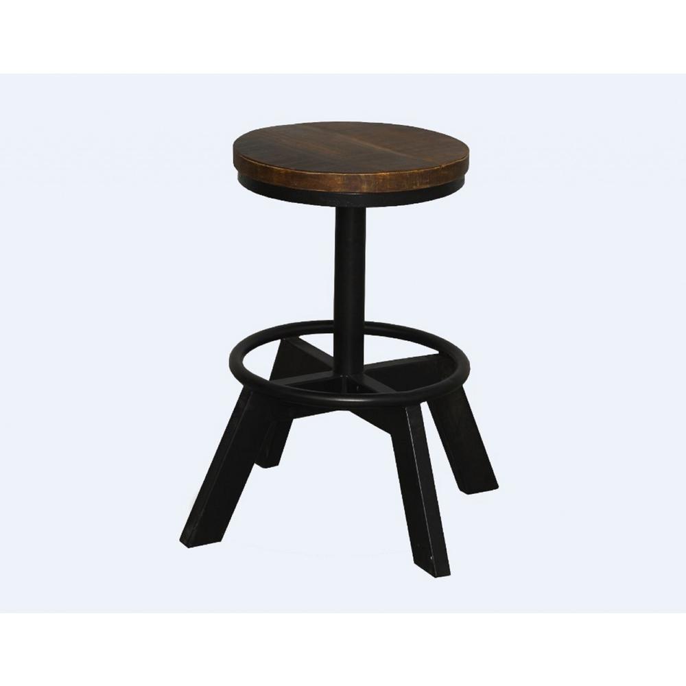 Old School Industrial Dark Wood Stool - 379802. Picture 1