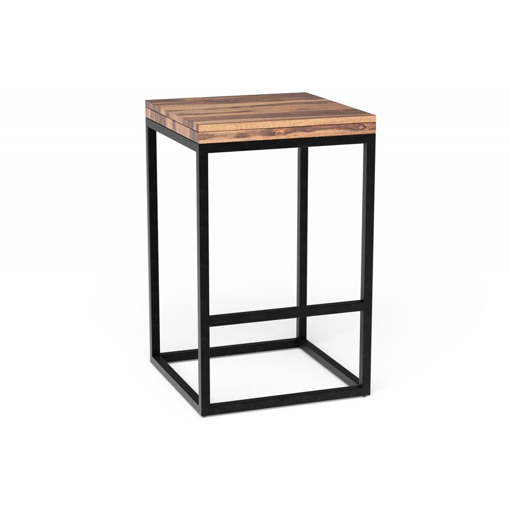 Squared Off Natural Wood Stool - 379807. Picture 1