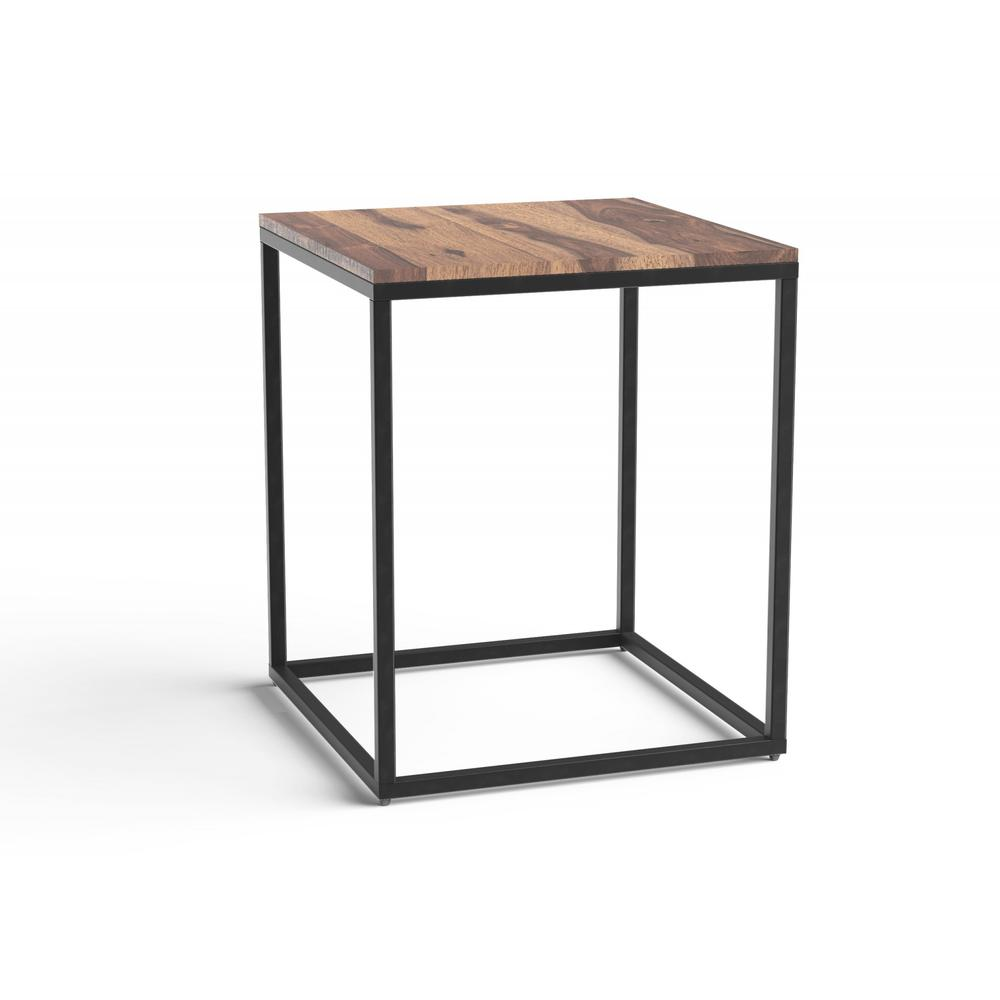 Squared Off Natural Wood End or Side Table - 379809. Picture 1