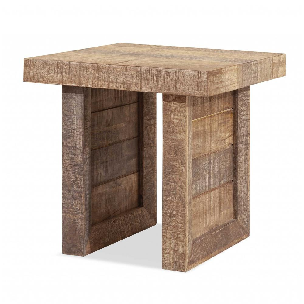 Solid Wood Butcher Block Style End or Side Table - 379816. Picture 1