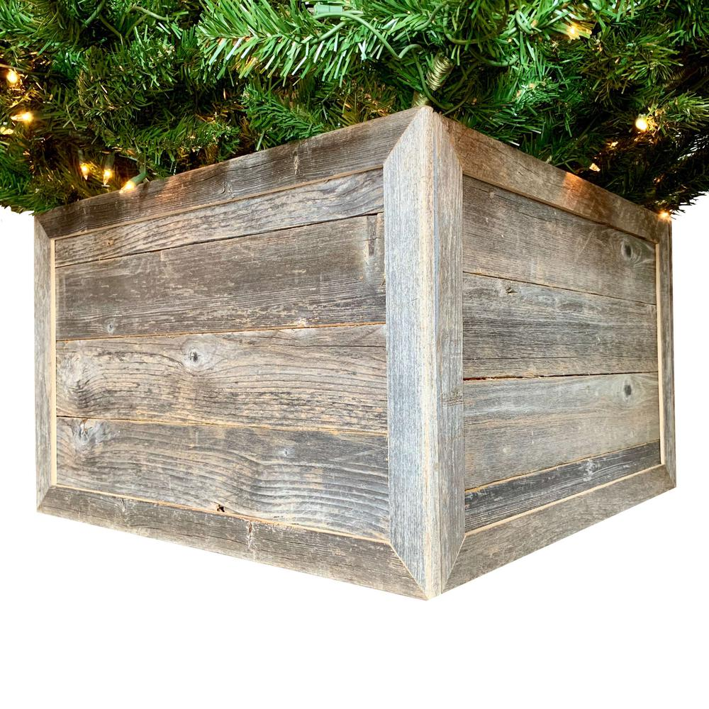 """28"""" Square Natural Weathered Gray Christmas Tree Collar - 379881. Picture 1"""
