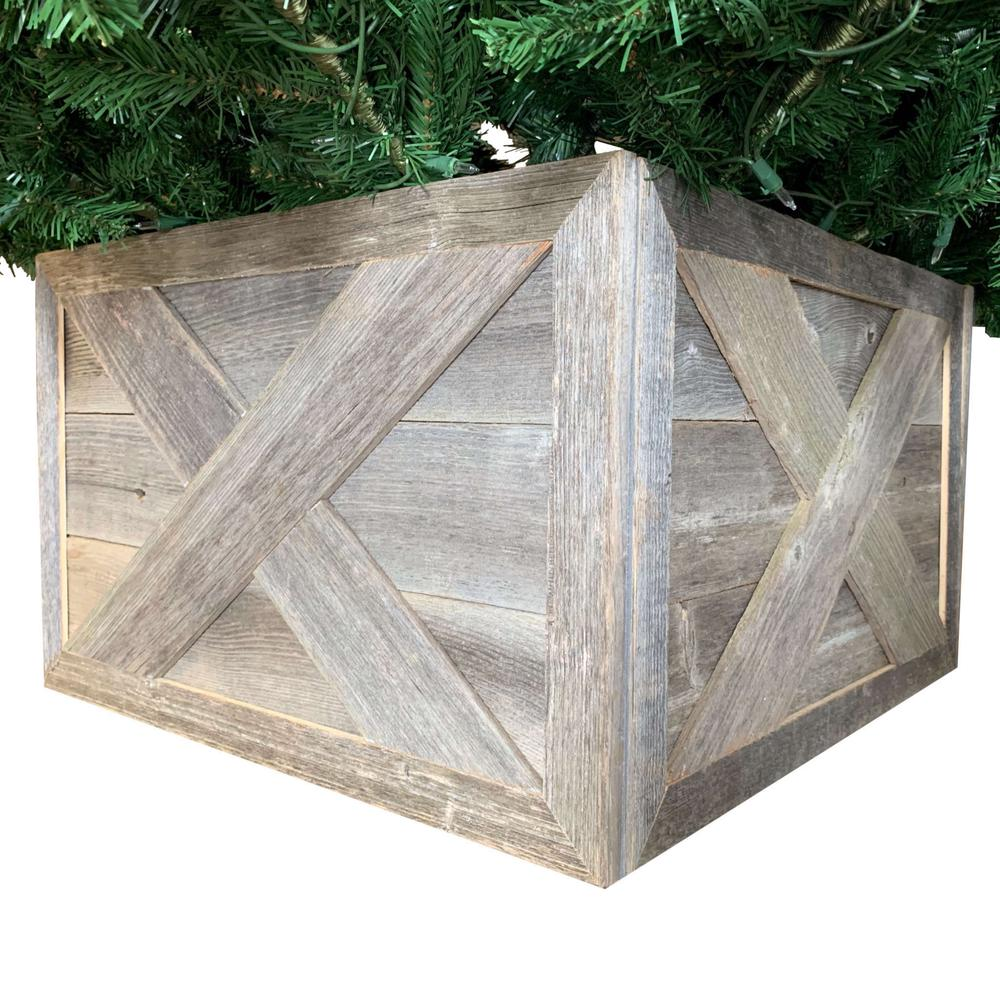 """23"""" Square Natural Weathered Gray Christmas Tree Collar - 379883. Picture 1"""
