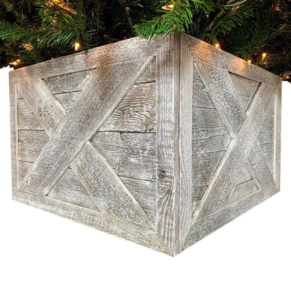 """23"""" Square Natural White Wash Christmas Tree Collar - 379886. Picture 1"""