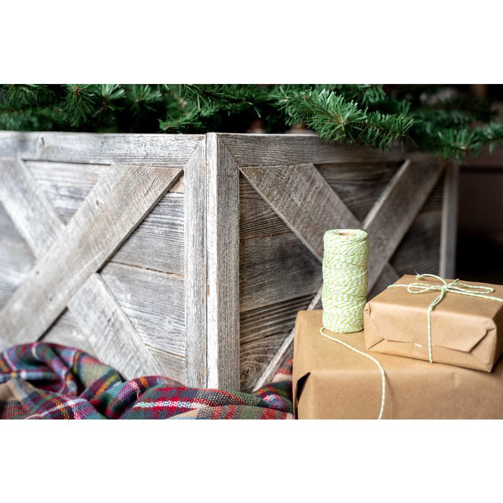 """23"""" Square Natural White Wash Christmas Tree Collar - 379886. Picture 2"""