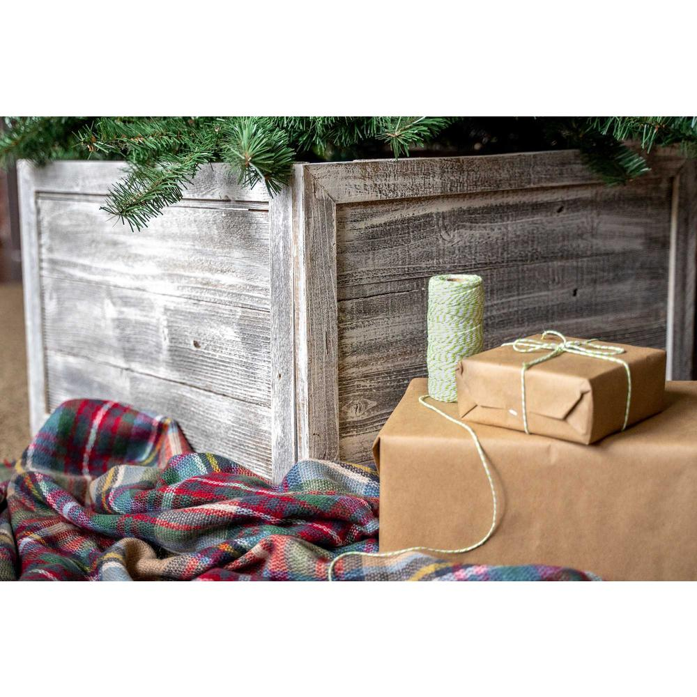 """23"""" Square White Wash Christmas Tree Collar - 379887. Picture 2"""