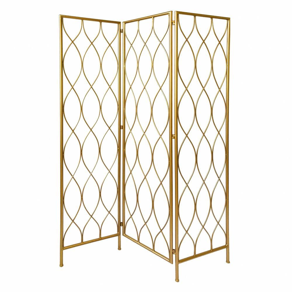 3 Panel Gold Room Divider with Golden Age Charm - 379901. Picture 1