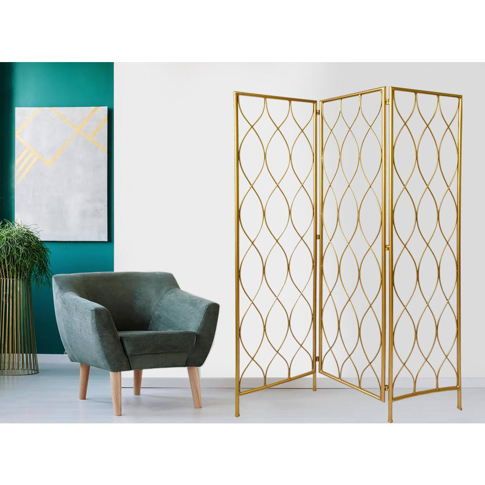 3 Panel Gold Room Divider with Golden Age Charm - 379901. Picture 2