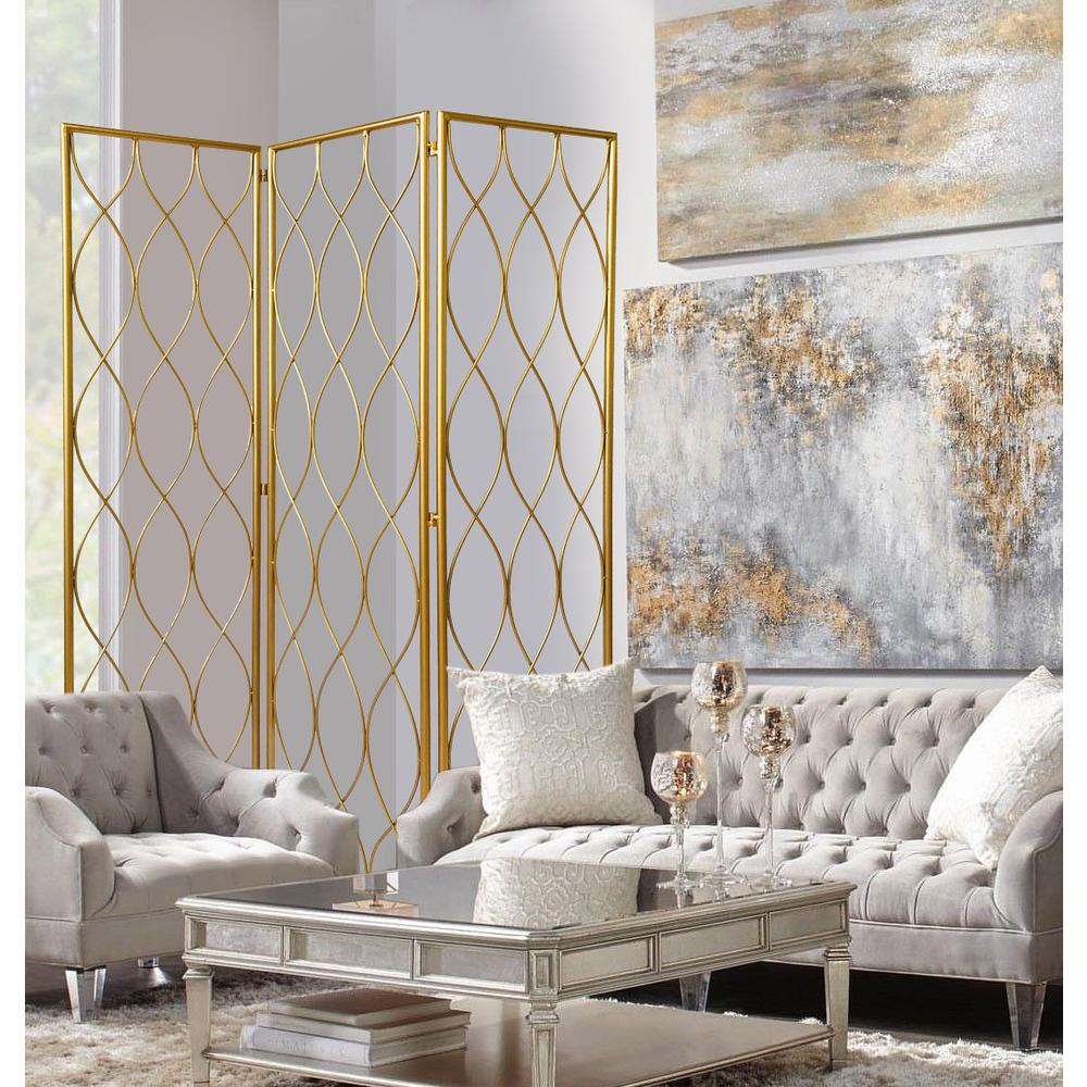 3 Panel Gold Room Divider with Golden Age Charm - 379901. Picture 3