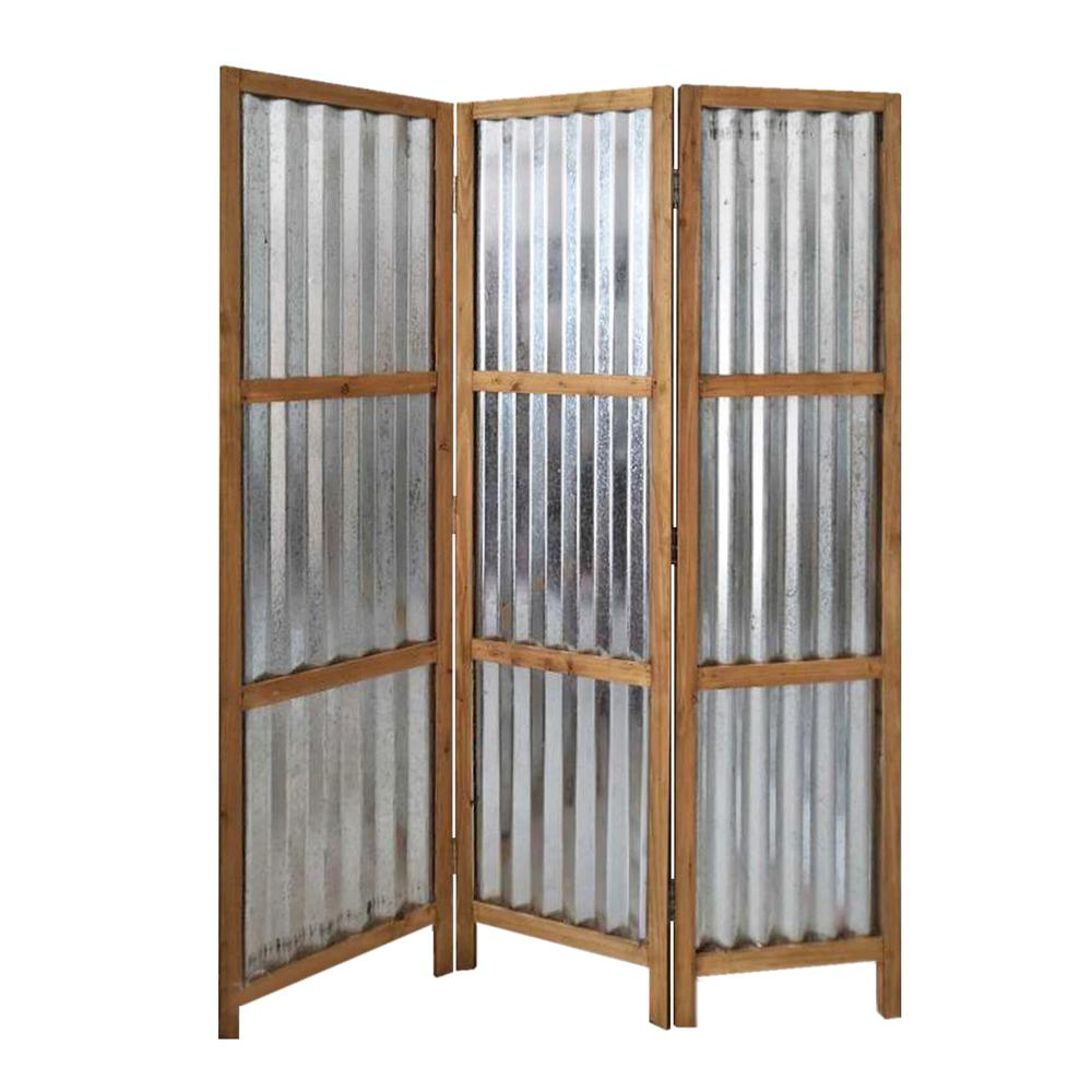 3 Panel Brown Corrugated Metal Room Divider - 379904. Picture 1