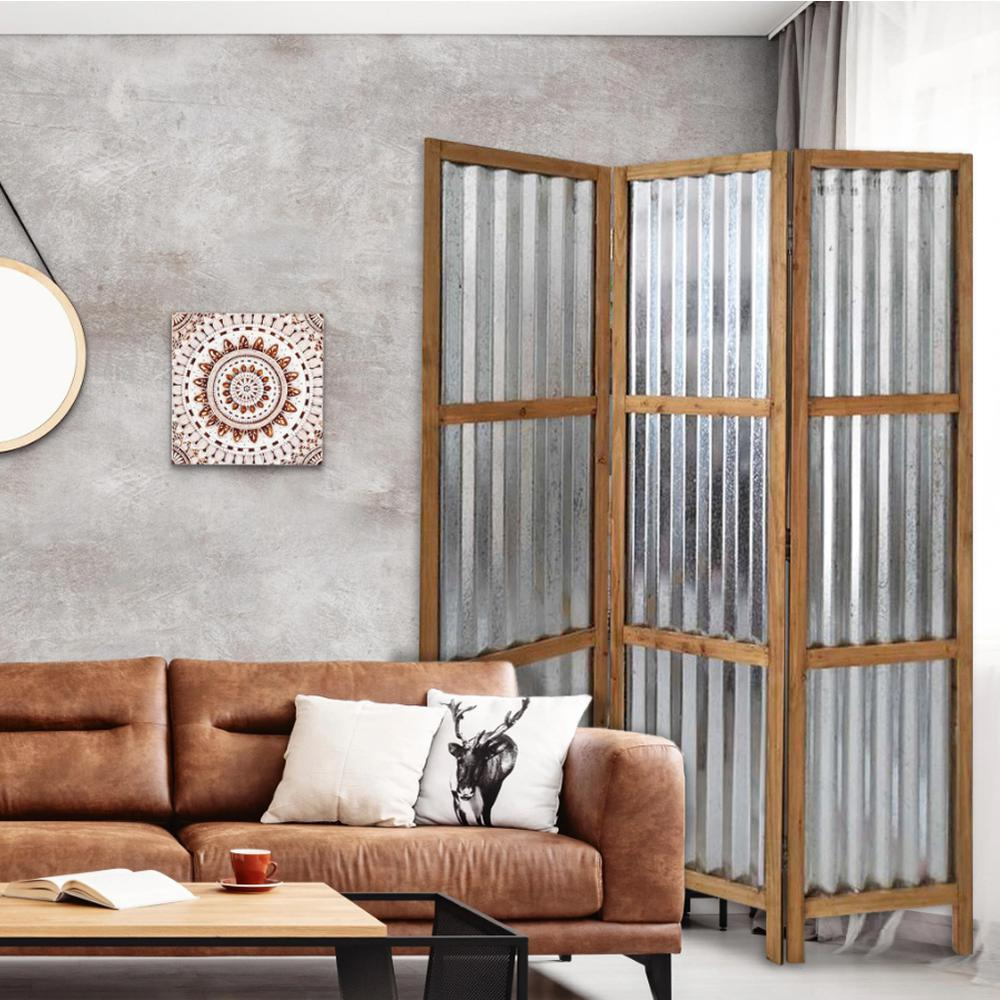 3 Panel Brown Corrugated Metal Room Divider - 379904. Picture 2