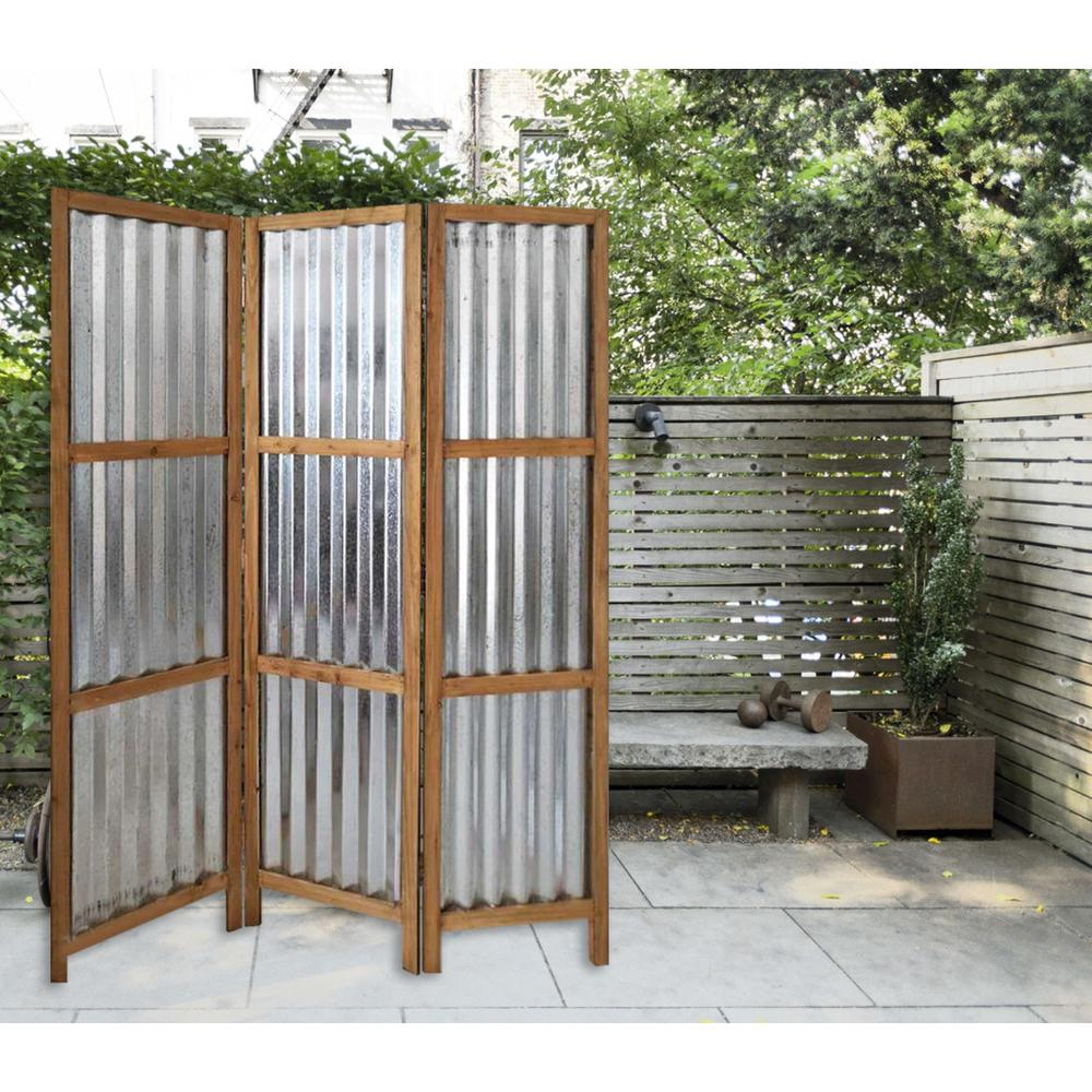 3 Panel Brown Corrugated Metal Room Divider - 379904. Picture 3