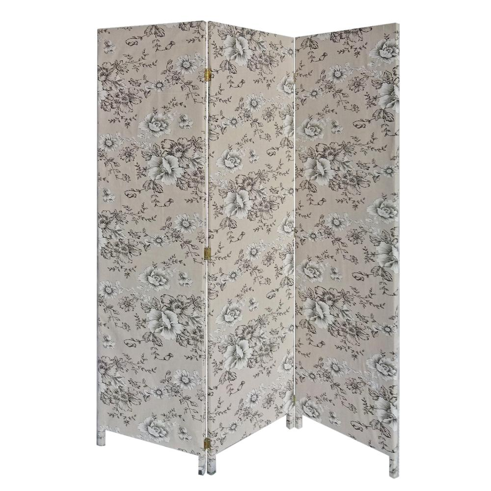 3 Panel Beige and Black Soft Fabric Finish Room Divider - 379907. Picture 1