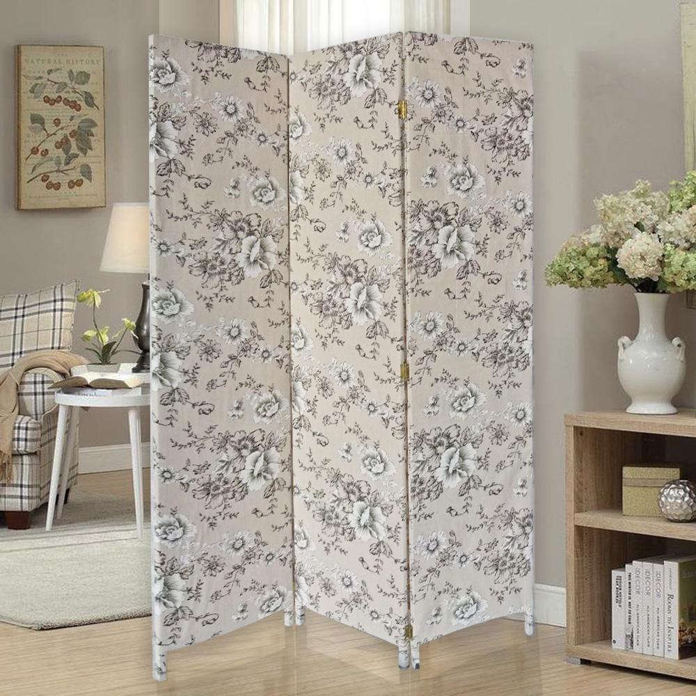 3 Panel Beige and Black Soft Fabric Finish Room Divider - 379907. Picture 2