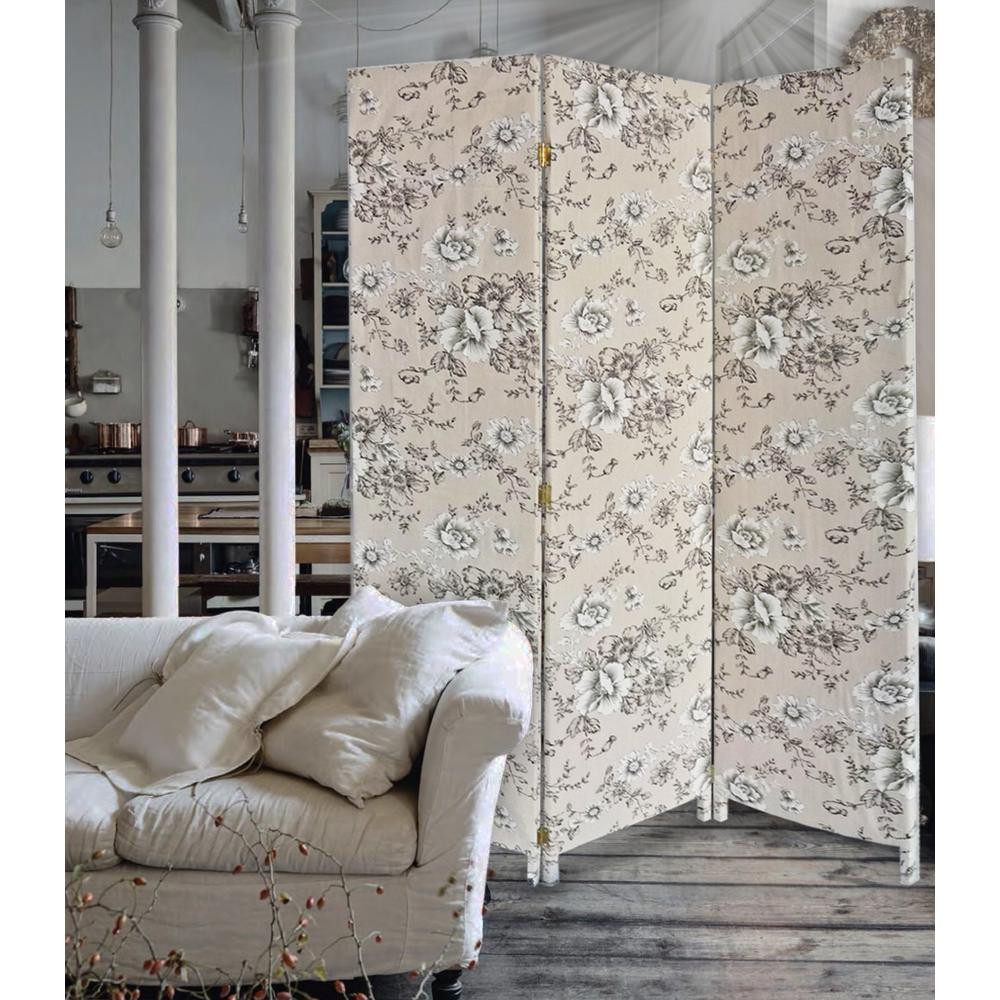 3 Panel Beige and Black Soft Fabric Finish Room Divider - 379907. Picture 3
