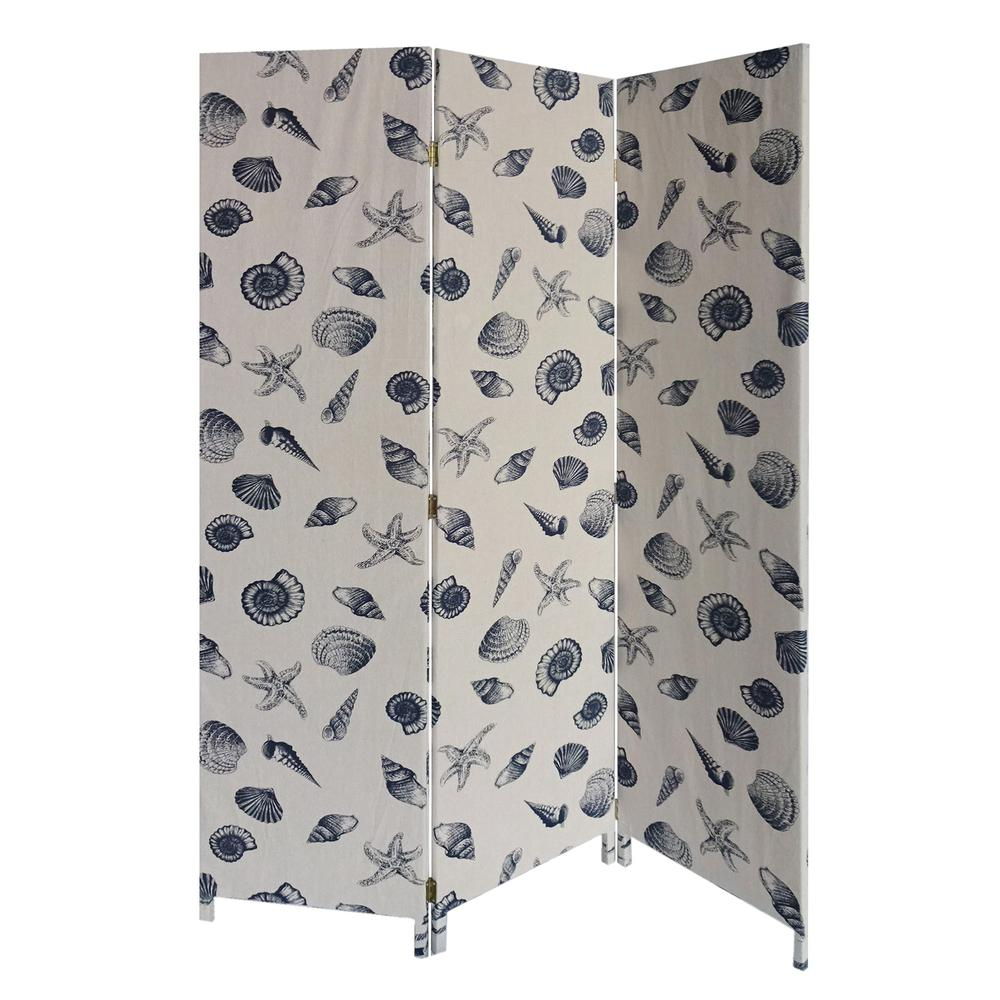 3 Panel Beige and Blue Soft Fabric Finish Room Divider - 379908. Picture 1